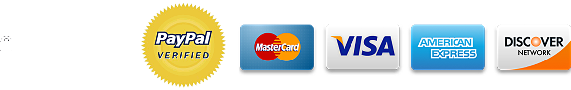 Authorize.net Verified Merchant, Paypal Verified, MasterCard, Visa, American Express, Discover Network